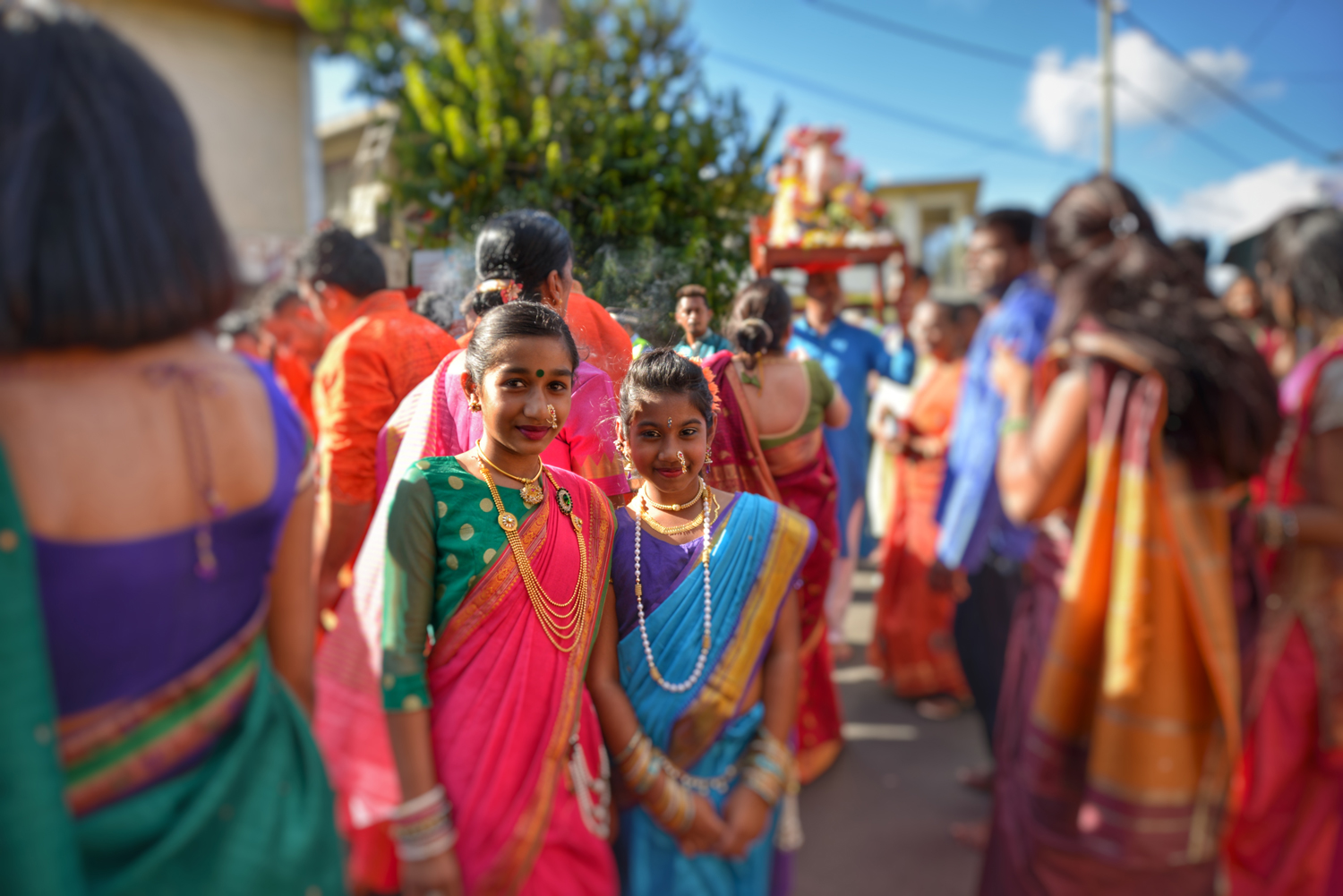two little girls in their traditional-dress